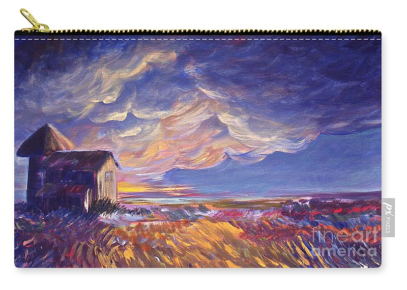Summer Prairie Storm Carry-all Pouch featuring the painting Summer Storm by Joanne Smoley