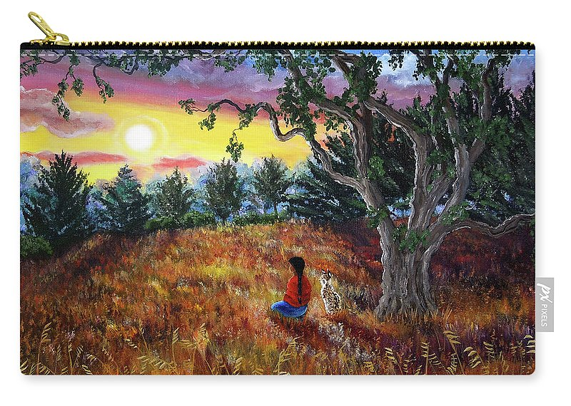 Landscape Carry-all Pouch featuring the painting Summer Sunset Meditation by Laura Iverson