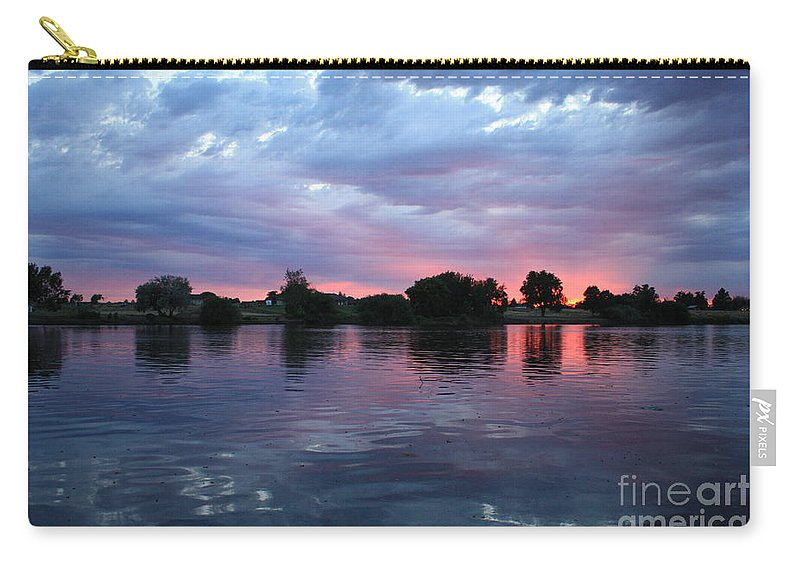Sunset Carry-all Pouch featuring the photograph Summer Sunset On Yakima River 4 by Carol Groenen