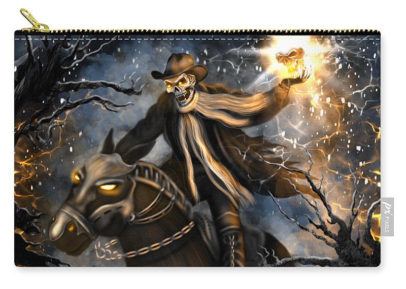 Headless Carry-all Pouch featuring the painting Summoned Skull Fantasy Art by Raphael Lopez