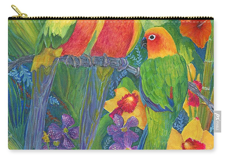 Birds Carry-all Pouch featuring the painting Sun Conure Parrots by June Hunt