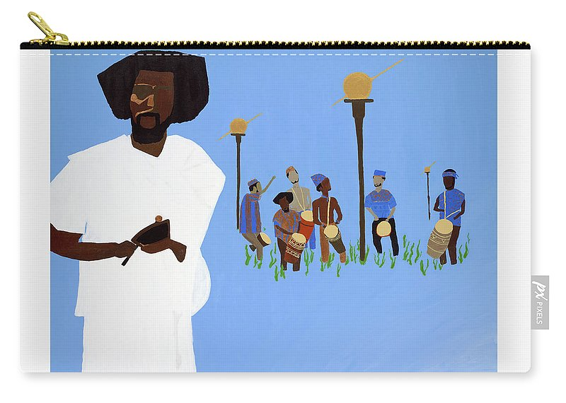 Drum Carry-all Pouch featuring the painting Sun Drummers - Music For Liberation by Kafia Haile