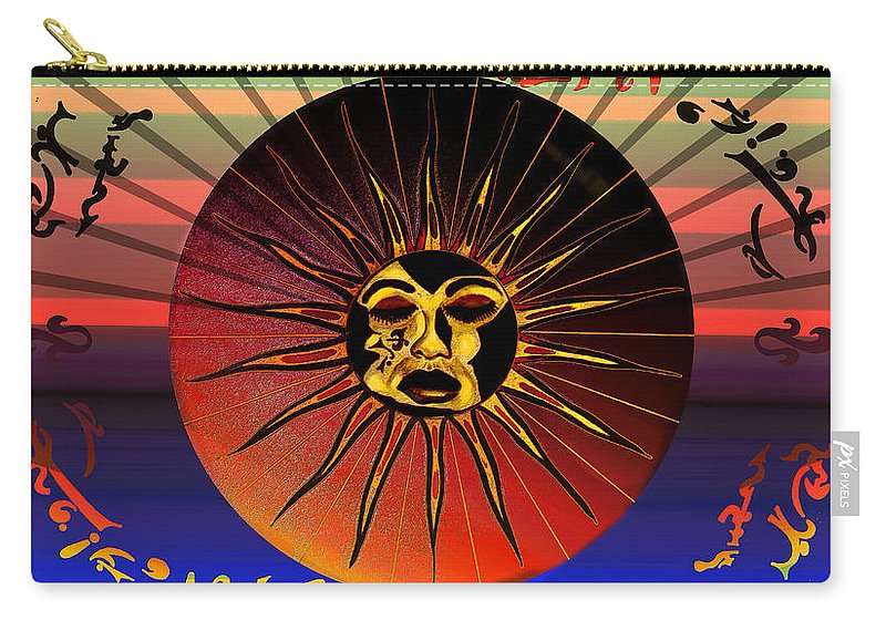 Robert Kernodle Beach Towels Carry-all Pouch featuring the drawing Sun Face Stylized by Robert G Kernodle