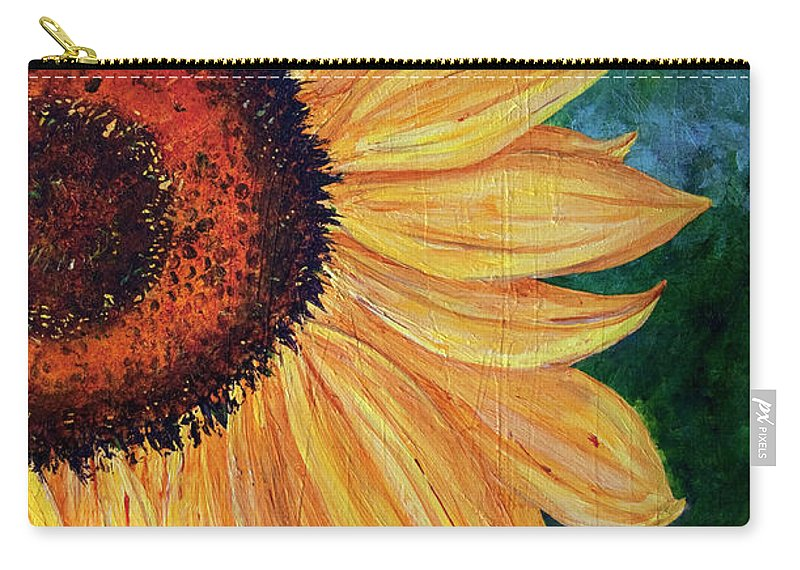 Sunflower Carry-all Pouch featuring the painting Sun Lover by Sole Avaria