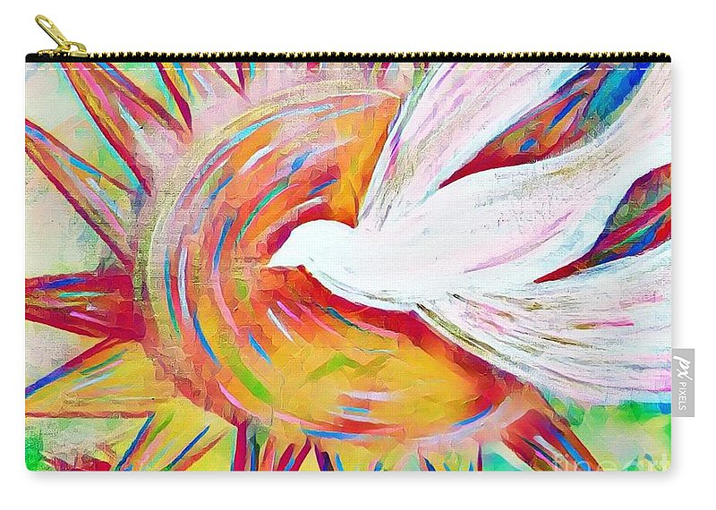 Dove Carry-all Pouch featuring the mixed media Healing Wings by Jessica Eli