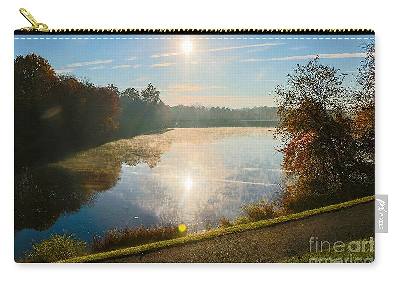 Gaithersburg Carry-all Pouch featuring the photograph Sun Rising Over Lake Inspiration by Thomas Marchessault
