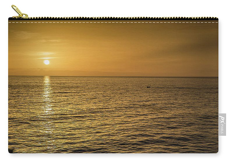 Barbados. Sunset .clouds. Water. Shore. Blue Sky Carry-all Pouch featuring the photograph Sun Setting In Barbados by Mark Tingle
