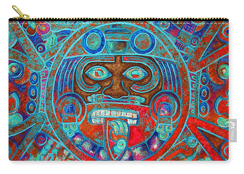 Aztec Carry-all Pouch featuring the painting S U N . S T O N E by J - O  N  E
