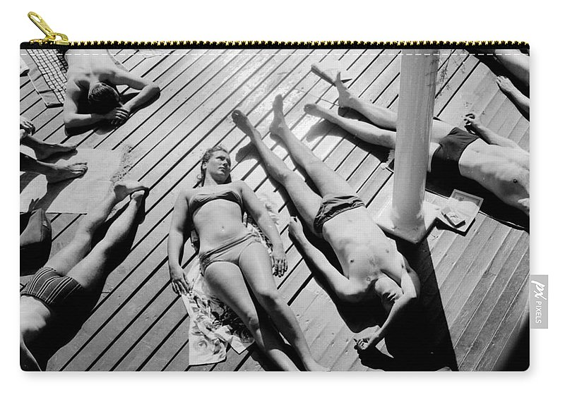 Sunbather Carry-all Pouch featuring the photograph Sun Tanning At The Deligny Swimming Pool, Paris, June, 1963 by French School