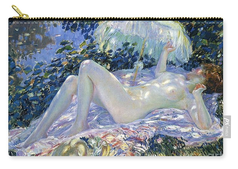 Sunbathing Carry-all Pouch featuring the painting Sunbathing by Frederick Carl Frieseke