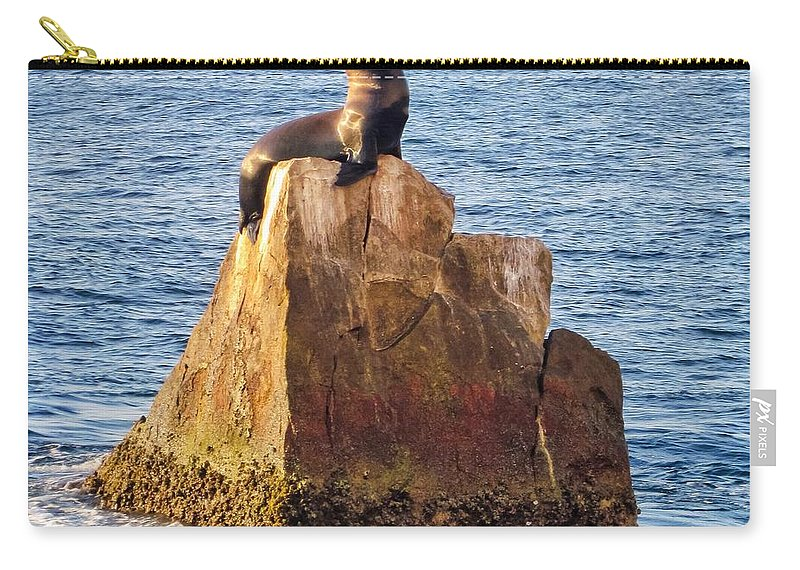 Sea Lion Carry-all Pouch featuring the photograph Sunbathing Sea Lion by LeAnne Perry
