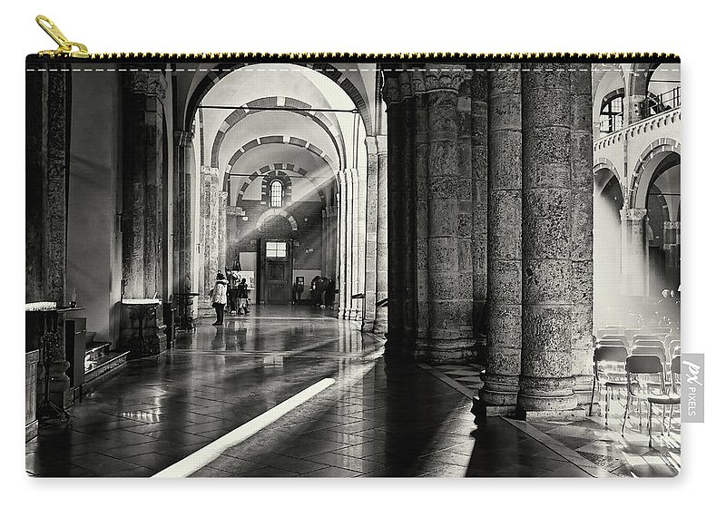 Architecture Carry-all Pouch featuring the photograph Sunbeam Inside The Church by Roberto Pagani