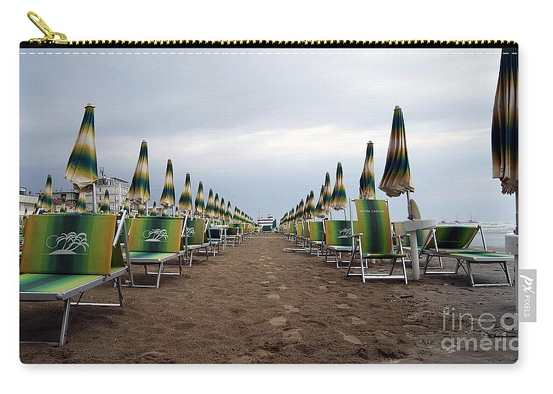 Sunbeds Carry-all Pouch featuring the photograph Sunbeds by LDS Dya