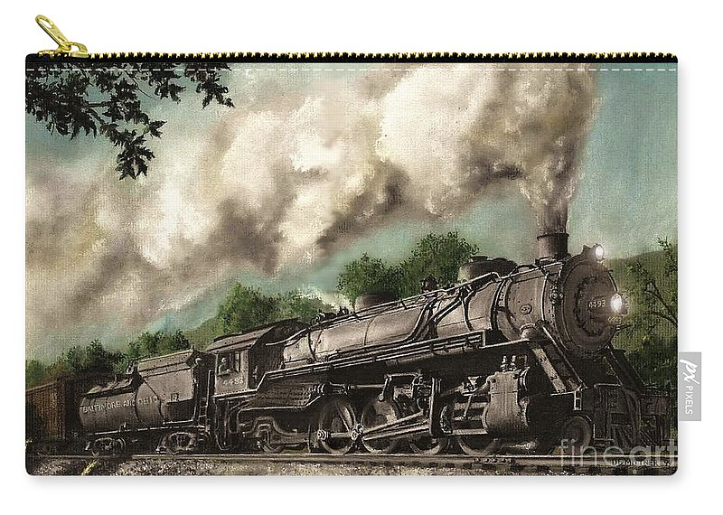 Baltimore & Ohio Railroad B&o Q4 Train Painting Railroad Maryland And Pennsylvania Autumn Fall Colors Steam Engine Carry-all Pouch featuring the painting Sunday Drive by David Mittner
