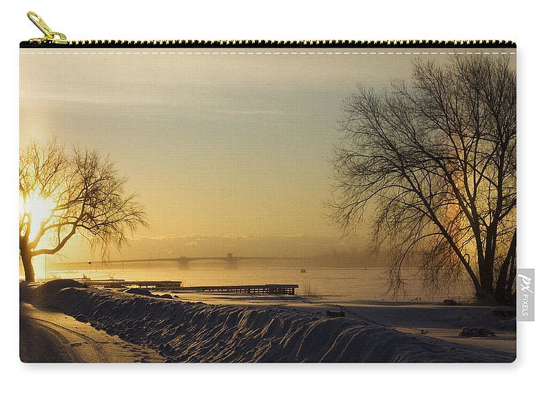 Sun Carry-all Pouch featuring the photograph Sundog On The Bay by Tim Nyberg