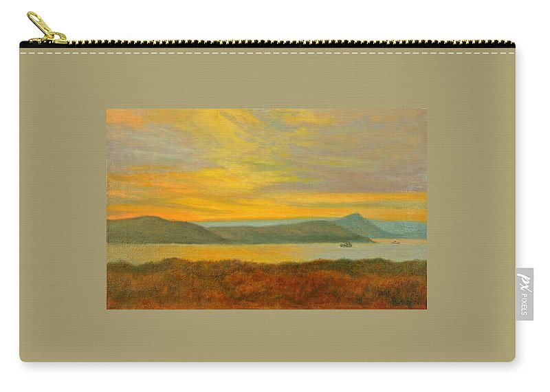 Landscape Carry-all Pouch featuring the painting Sundown Over High Tor by Phyllis Tarlow