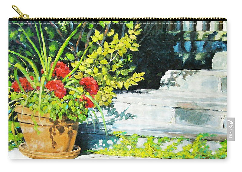 Art Carry-all Pouch featuring the painting Sunfilled Steps 01 by Richard T Pranke