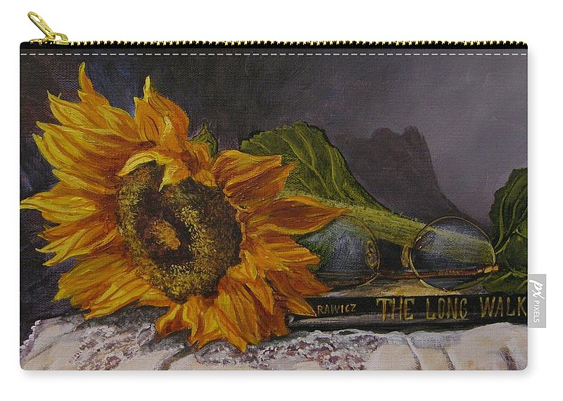 Judy Bradley Carry-all Pouch featuring the painting Sunflower And Book by Judy Bradley