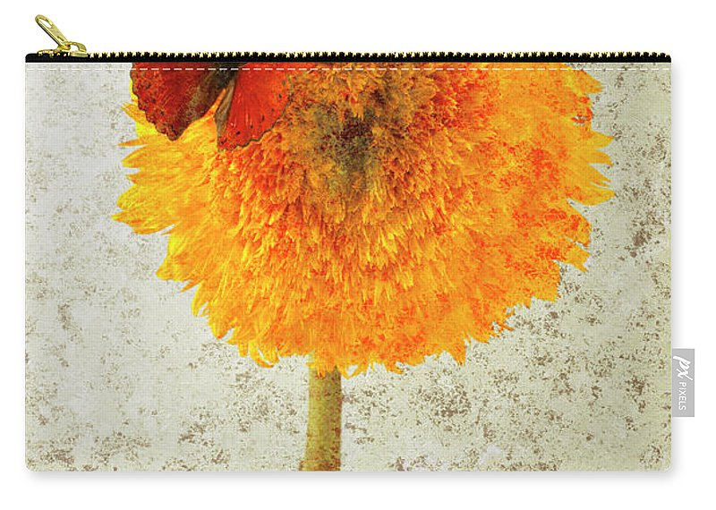 Red Butterfly Sunflower Yellow Abstract Carry-all Pouch featuring the photograph Sunflower And Red Butterfly by Garry Gay