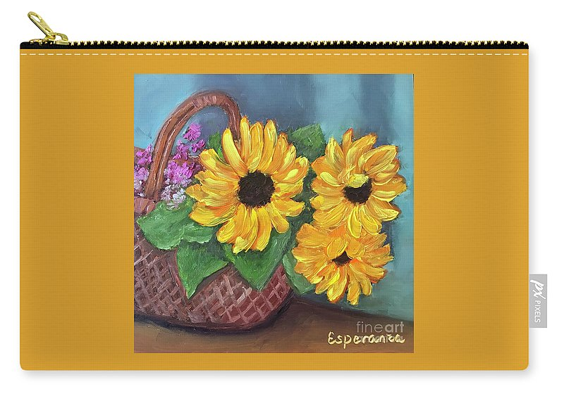 Sunflower Painting Carry-all Pouch featuring the painting Sunflower Basket by Esperanza Arato