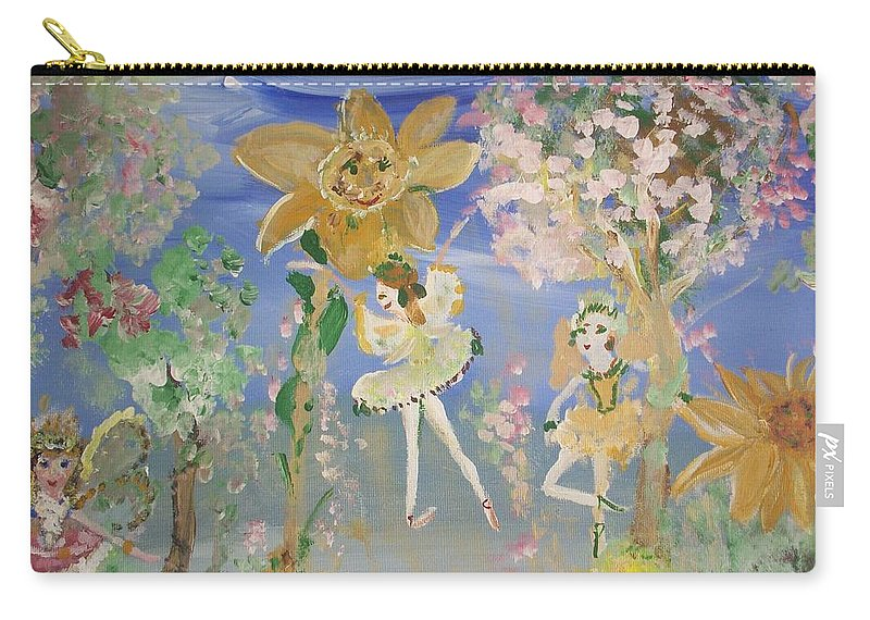 Sunflowers Carry-all Pouch featuring the painting Sunflower Fairies by Judith Desrosiers