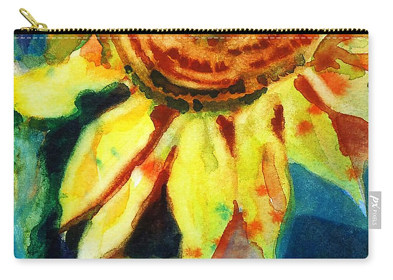 Painting Carry-all Pouch featuring the painting Sunflower Head 4 by Kathy Braud