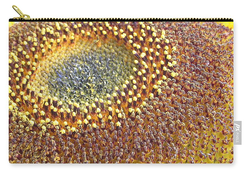Sunflower Carry-all Pouch featuring the photograph Sunflower Heart by Line Gagne