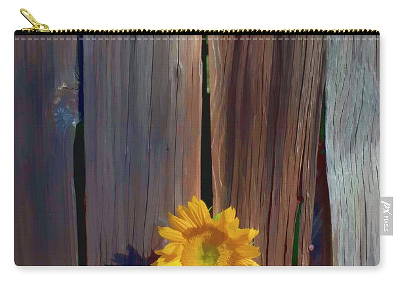 Sunflowers Together Sunflower Carry-all Pouch featuring the photograph Sunflower In Barn Wood by Garry Gay