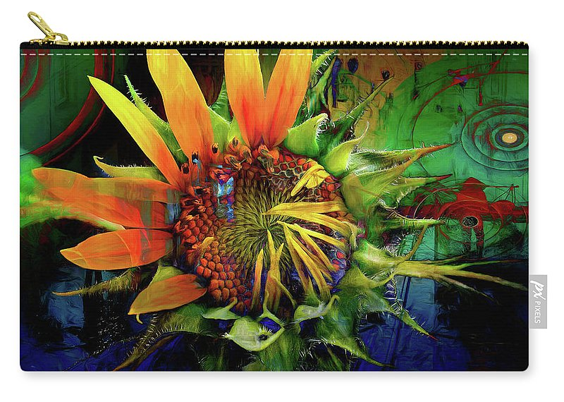 Sunflower Carry-all Pouch featuring the digital art Sunflower Magic by Rebecah Thompson