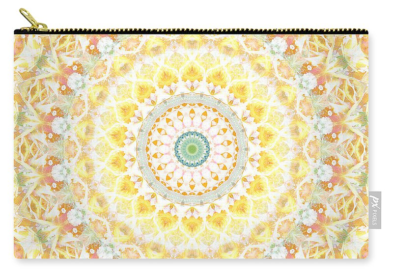 Sunflower Carry-all Pouch featuring the painting Sunflower Mandala- Abstract Art By Linda Woods by Linda Woods