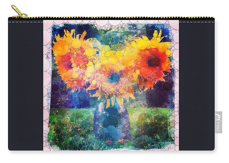 Sunflowers Carry-all Pouch featuring the digital art Sunflower Mosaic by Mo Barton