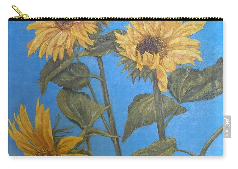 Sunflower Carry-all Pouch featuring the painting Sunflower by Travis Day