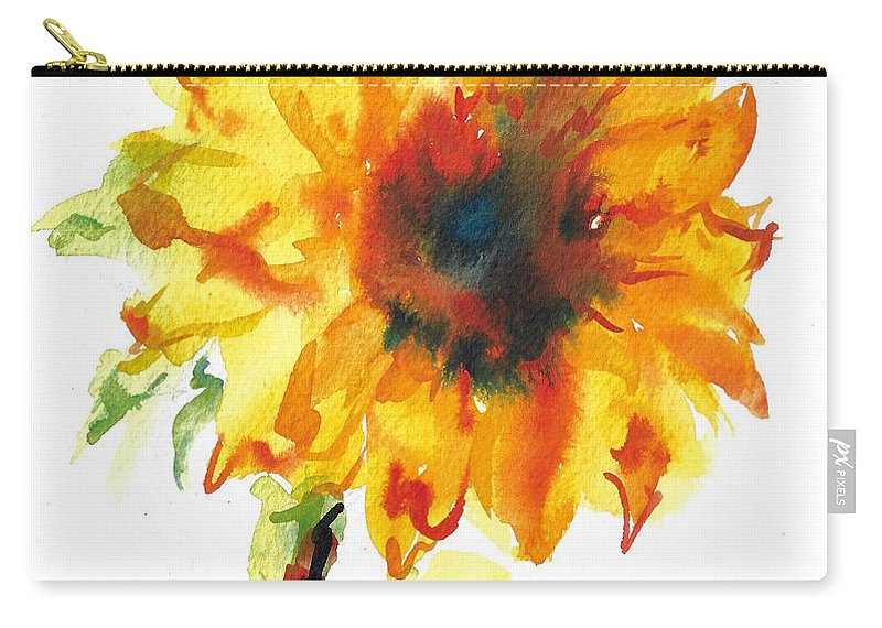 Floral Carry-all Pouch featuring the painting Sunflower With Blues by Jacki Kellum