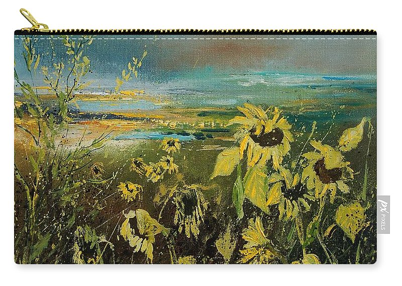 Flowers Carry-all Pouch featuring the painting Sunflowers 562315 by Pol Ledent
