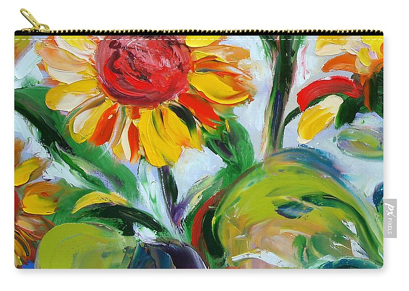 Flowers Carry-all Pouch featuring the painting Sunflowers 9 by Gina De Gorna