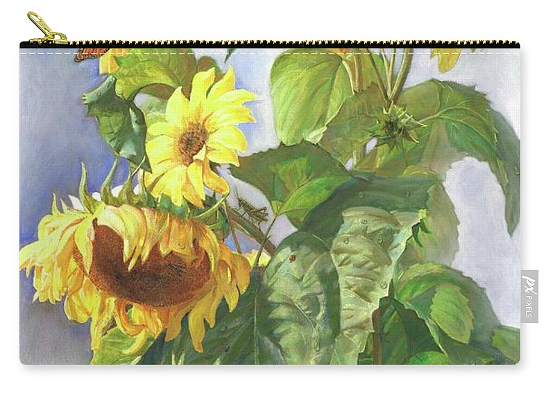 Sunflower Carry-all Pouch featuring the painting Sunflowers After The Rain by Svitozar Nenyuk