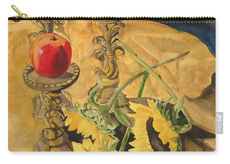 Still Life Carry-all Pouch featuring the painting Sunflowers And Apples by Jean Blackmer