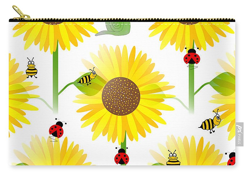 Contemporary Sunflower Pattern Carry-all Pouch featuring the digital art Sunflowers And Bees by Kathleen Sartoris