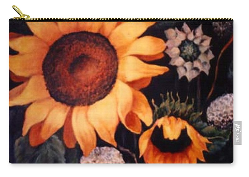 Sunflowers Paintings Carry-all Pouch featuring the painting Sunflowers And More Sunflowers by Jordana Sands