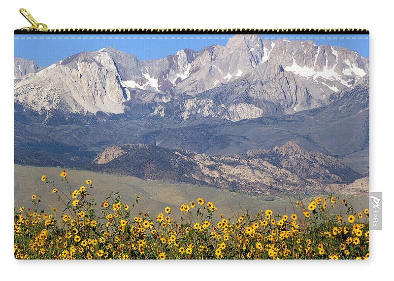 Sunflowers Carry-all Pouch featuring the photograph 2a6742-sunflowers And Mount Humphreys by Ed Cooper Photography