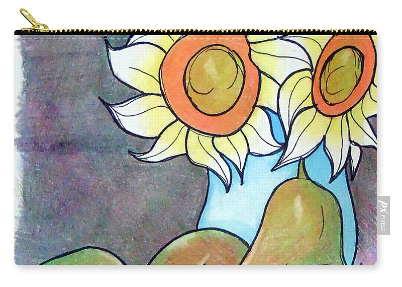 Sunflowers Carry-all Pouch featuring the drawing Sunflowers And Pears by Loretta Nash