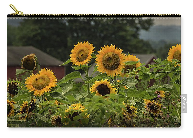 Sunflowers Carry-all Pouch featuring the photograph Sunflowers And Red Barn 2 by Louise Reeves