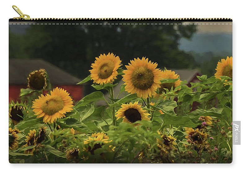 Sunflowers Carry-all Pouch featuring the photograph Sunflowers And Red Barn 3 by Louise Reeves