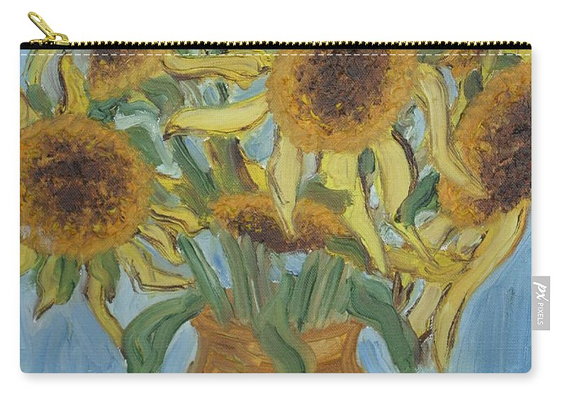 Flowers Carry-all Pouch featuring the painting Sunflowers II. by Agnes V