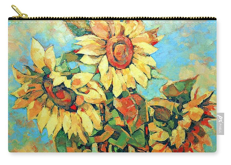 Sunflowers Carry-all Pouch featuring the painting Sunflowers by Iliyan Bozhanov