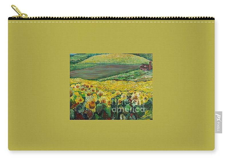 A Field Of Yellow Sunflowers Carry-all Pouch featuring the painting Sunflowers In Provence by Nadine Rippelmeyer