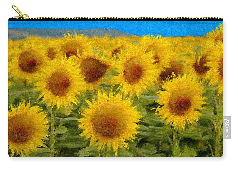 Sunflower Carry-all Pouch featuring the painting Sunflowers In The Field by Jeffrey Kolker