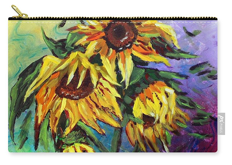 Art Carry-all Pouch featuring the painting Sunflowers In The Rain by Luiza Vizoli