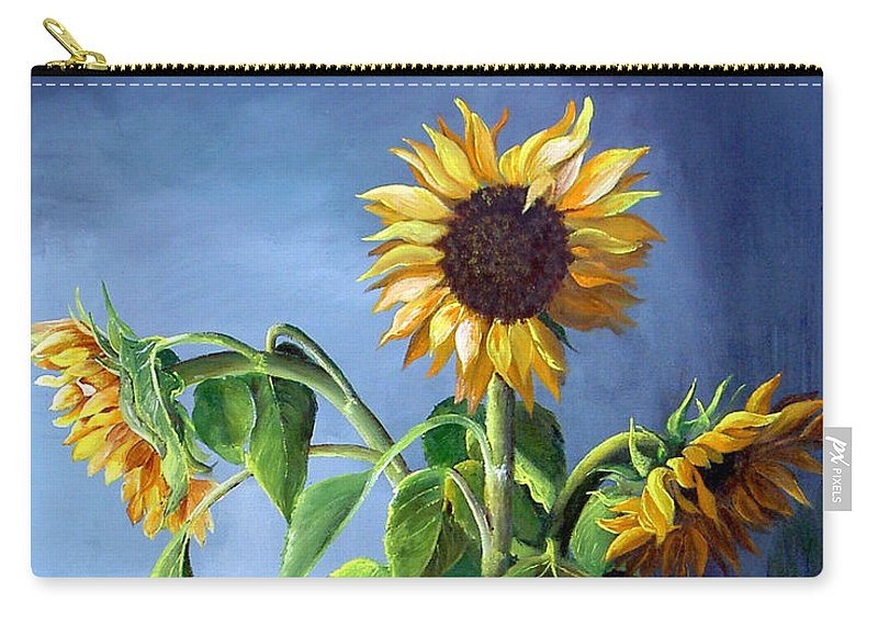 Sunflowers Carry-all Pouch featuring the painting Sunflowers In Vase by Dominica Alcantara