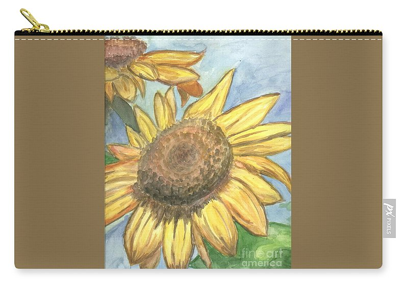 Daisy Carry-all Pouch featuring the painting Sunflowers by Jacqueline Athmann